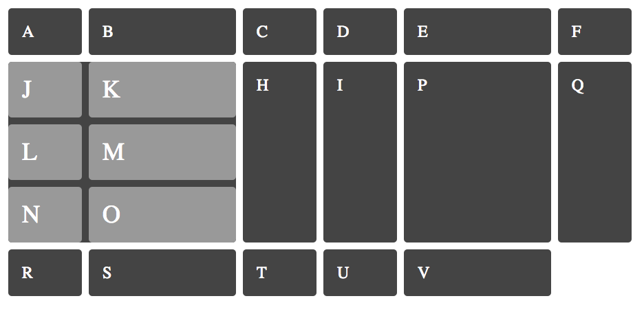 mockup image of a component grid